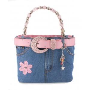 Denim Jean Purse w/ Belt & Key Chain/Flower - Pink - BG-ABJ13MPK (BG-BJ13MPK)