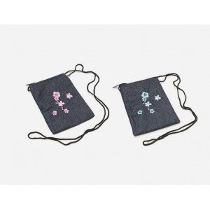 12-pc ( Assorted colors ) Denim passport size bags with shoulder strap - BG-PS