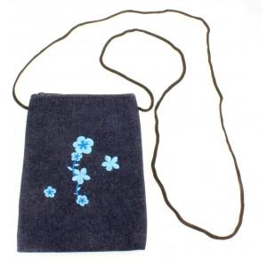 Denim Passport size bag with shoulder strap - Blue - BG-PS-BL
