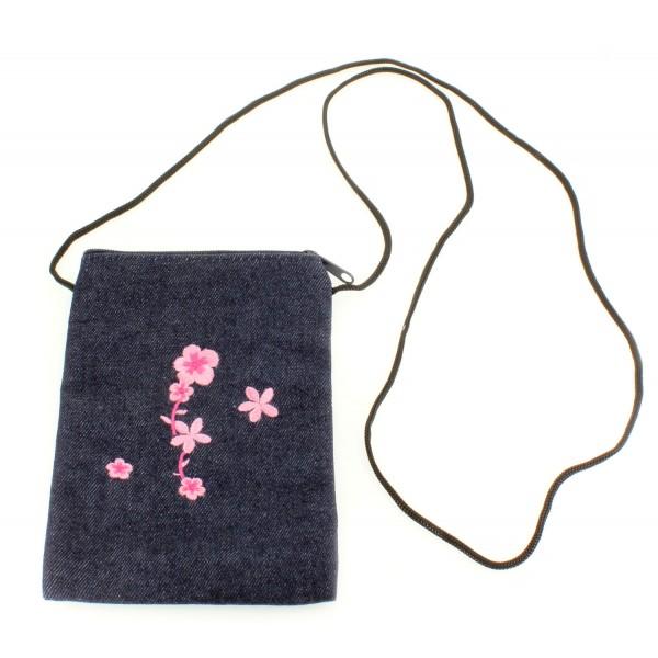 Denim Passport size bag with shoulder strap - Pink - BG-PS-PK