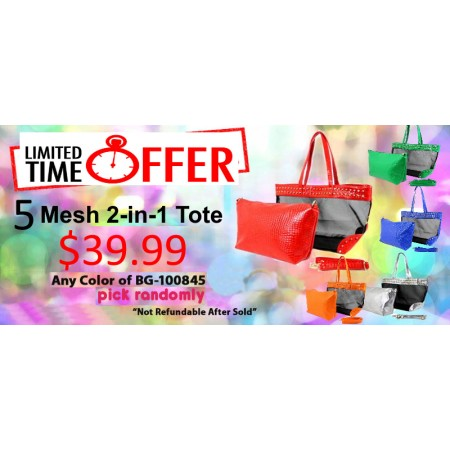 Discount Package: 50% off (5 set) Assortment 2-in-1 Beach Totes - BG-100845-5