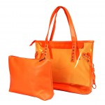 Clear PVC 2-in-1 Totes w/ Leather-like PU Trim - Orange - BG-100843OR