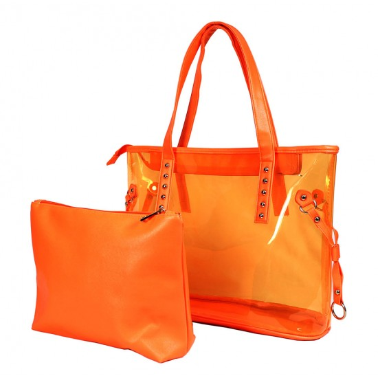 Clear PVC 2-in-1 Totes w/ Leather-like PU Trim - Orange - BG-100843OR