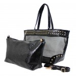 Mesh 2-in-1 Totes w/ Metal Studded Croc Embossed PU Trim - Black -BG-100845B