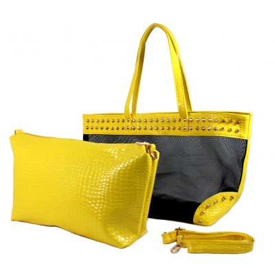 Mesh 2-in-1 Totes w/ Metal Studded Croc Embossed PU Trim - Yellow -BG-100845YL