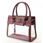 Clear PVC Tote -  PU Leather Trim Accent w/ Fold Down Lock - Burgundy - BG-C010BG