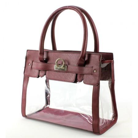Clear PVC Tote -  PU Leather Trim Accent w/ Fold Down Lock - Burgundy - BG-C010BG