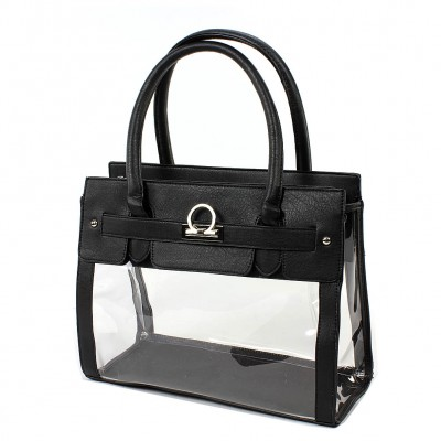 Clear PVC Tote -  PU Leather Trim Accent w/ Fold Down Lock - Black - BG-C010BK