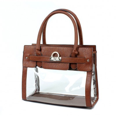 Clear PVC Tote -  PU Leather Trim Accent w/ Fold Down Lock - Brown - BG-C010BN