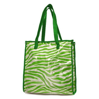 Clear PVC Shopping Bag w/ Zebra Print Inner Bag - Green- BG-C956GN