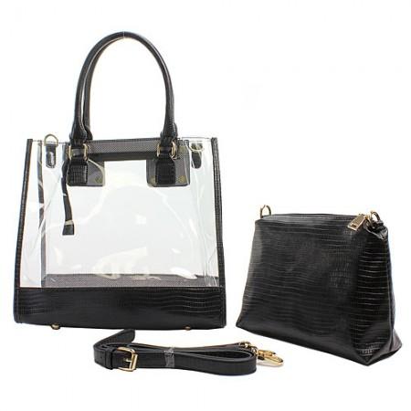 2-in-1 Clear PVC Tote Bag w/ Croc Embossed Trim - Black - BG-CL471BK