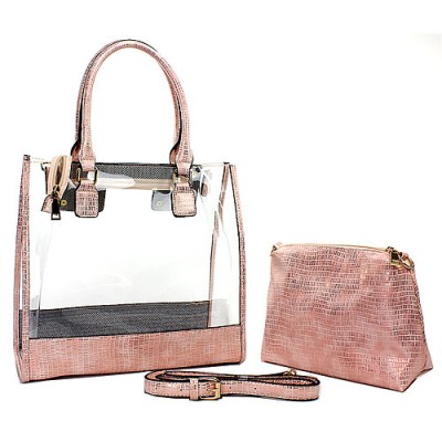 2-in-1 Clear PVC Tote Bag w/ Croc Embossed Trim - Pink - BG-CL471PK