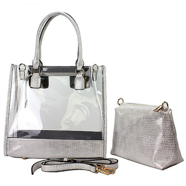 2-in-1 Clear PVC Tote Bag w/ Croc Embossed Trim - White - BG-CL471WT