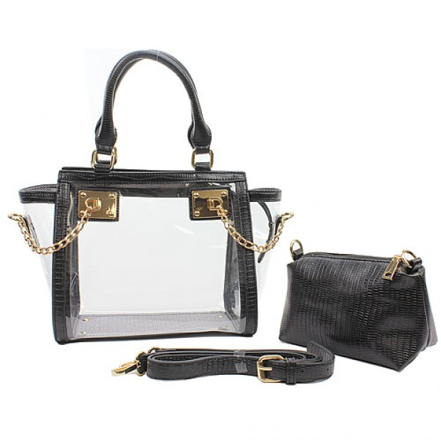 2-in-1 Clear PVC Tote Bag w/ Croc Embossed Trim - Black - BG-CL472BK