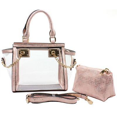 2-in-1 Clear PVC Tote Bag w/ Croc Embossed Trim - Pink - BG-CL472PK