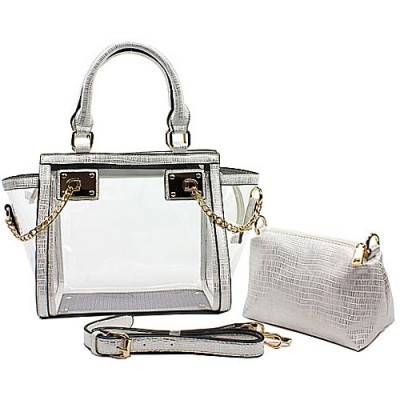 2-in-1 Clear PVC Tote Bag w/ Croc Embossed Trim - White - BG-CL472WT