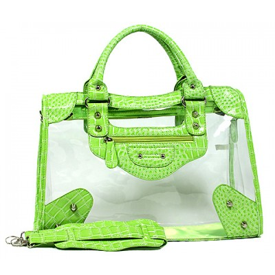 Clear PVC Tote Bag w/ Croc Embossed Patent Leather-like Trim - Green - BG-CLR001GN