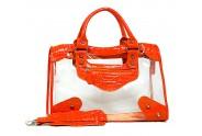 Clear PVC Tote Bag w/ Croc Embossed Patent Leather-like Trim - Orange - BG-CLR001OG
