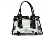 Clear PVC Tote Bag w/ Croc Embossed Patent Leather-like Trim - Black - BG-CLR002BK