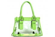 Clear PVC Tote Bag w/ Croc Embossed Patent Leather-like Trim - Green - BG-CLR002GN