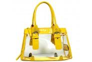 Clear PVC Tote Bag w/ Croc Embossed Patent Leather-like Trim - Mustard  - BG-CLR002MUS