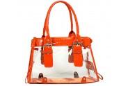 Clear PVC Tote Bag w/ Croc Embossed Patent Leather-like Trim - Orange - BG-CLR002OG