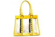 Clear PVC Tote Bag - Croc Embossed Patent Leather-like Trim w/ Pyramid Studs - Mustard - BG-CLR003MUS