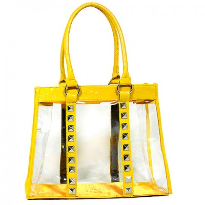 Clear PVC Tote Bag - Croc Embossed Patent Leather-like Trim w/ Pyramid Studs - Mustard - BG-CLR003MUS