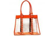 Clear PVC Tote Bag - Croc Embossed Patent Leather-like Trim w/ Pyramid Studs - Orange - BG-CLR003OG