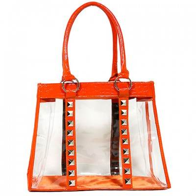 Clear PVC Tote Bag - Croc Embossed Patent Leather-like Trim w/ Pyramid Studs - Orange - BG-CLR003OG