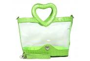 Clear PVC Satchel - Croc Embossed Patent Leather-like Trim w/ Open Heart Shape Handles - Green - BG-CLR004GN