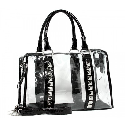 Clear PVC Duffel - Croc Embossed Patent Leather-like Trim w/ Pyramid Studs - Green - BG-CLR005GN