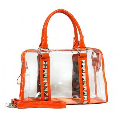 Clear PVC Duffel - Croc Embossed Patent Leather-like Trim w/ Pyramid Studs - Orange - BG-CLR005OG