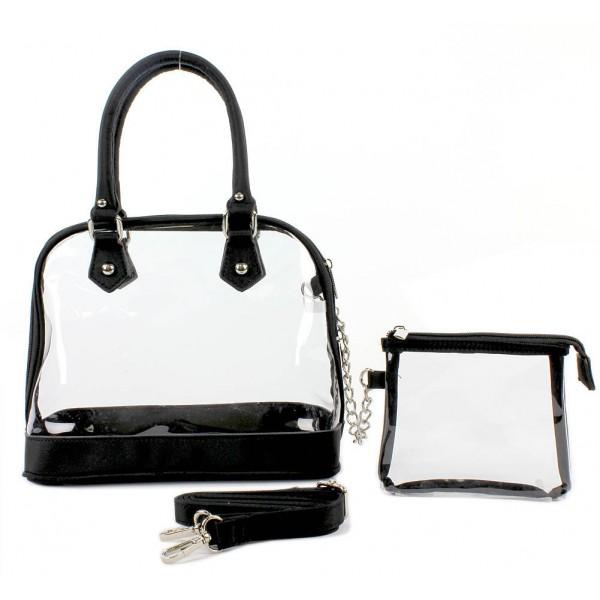 Clear PVC Tote -  Small Bowling Bag w/ Detachable Strap - Black -BG-TM6-5388BK