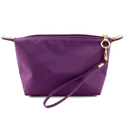 Nylon Cosmetic Bags w/ Wristlet - Purple -BG-HM1006PU
