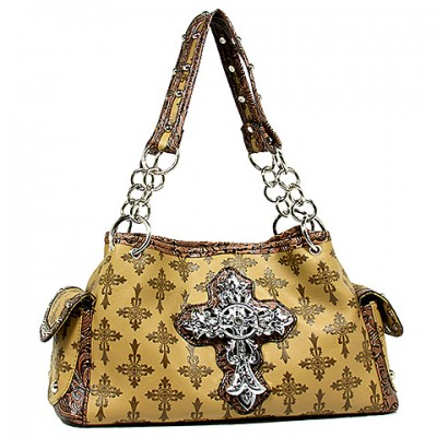 Cross Charm Tote Bags: Monogram w/ Cross Charm - Tan - BG-JO1032CM-TN