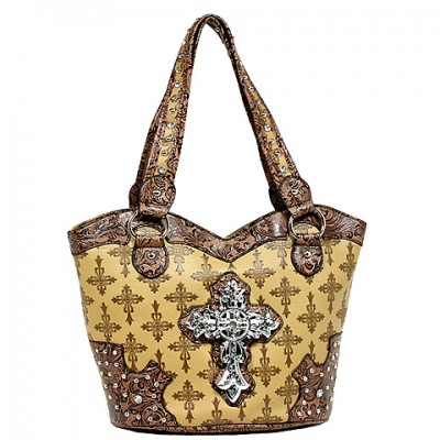 Cross Charm Tote Bags: Monogram w/ Cross Charm - Tan - BG-JO1035CM-TN
