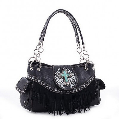 Cross Charm Western Style with Fringe Accent Tote Bag - Black - BG-MJ5302BK