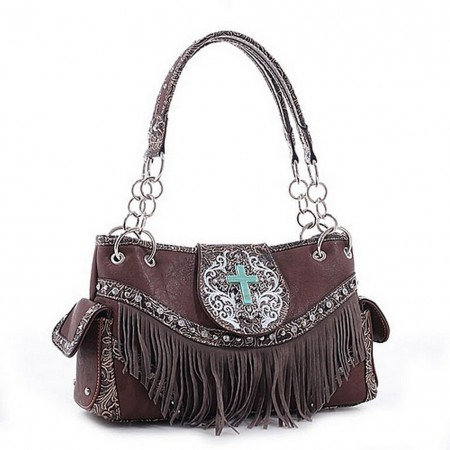 Cross Charm Western Style with Fringe Accent Tote Bag - Coffee - BG-MJ5302CF