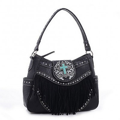 Cross Charm Western Style with Fringe Accent Hobo Bag - Black - BG-MJ5902BK