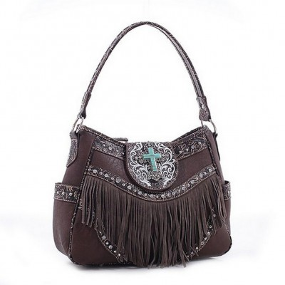 Cross Charm Western Style with Fringe Accent Hobo Bag - Coffee - BG-MJ5902CF