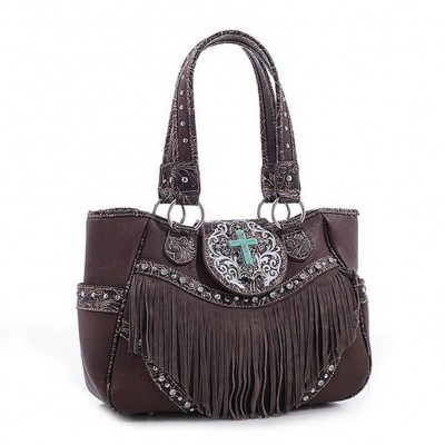 Cross Charm Western Style with Fringe Accent Tote Bag - Coffee - BG-MJ6802CF