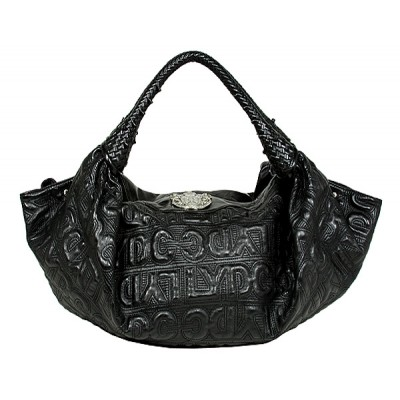 LYDC Group - Signature Embossed Satchel Bag w/ Woven Handles - Black -BG-8335BK