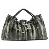 Patent Leather-Like Satchel - Gray -BG-LA56888GY