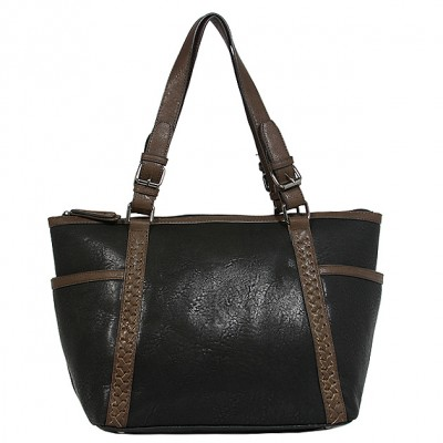 Tote Bag - 2-Side Pockets Leather-like Tote w/ Whipped & Buckled Straps - Black - BG-MB1714BK