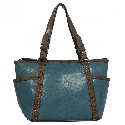 Tote Bag - 2-Side Pockets Leather-like Tote w/ Whipped & Buckled Straps - Blue - BG-MB1714BL