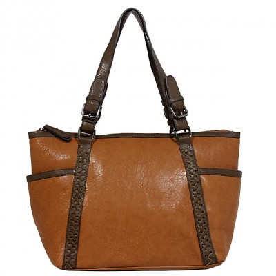 Tote Bag - 2-Side Pockets Leather-like Tote w/ Whipped & Buckled Straps - Brown - BG-MB1714BN