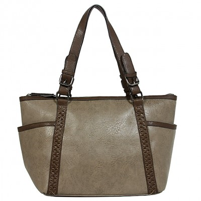 Tote Bag - 2-Side Pockets Leather-like Tote w/ Whipped & Buckled Straps - Gray - BG-MB1714GY