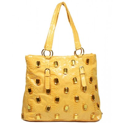Faux Jeweled Python Embossed Tote - Yellow - BG-MIZ6820YL