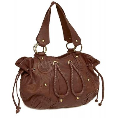 Leather-Like Tote w/ Sided Draw Strings - Brown - BG-SLB1013BR